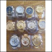 Relógios Masculinos Dourado E Prateado Com Caxinha Atacado Kit com 5 frete grátis