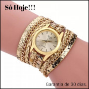 Relógio Feminino Dourado Bracelete Pulseira Couro Barato, vendas no varejo