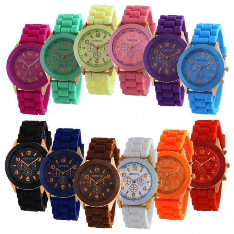 Relógio Feminino Barato Para Revenda Geneva Pulso Silicone, vendas no varejo