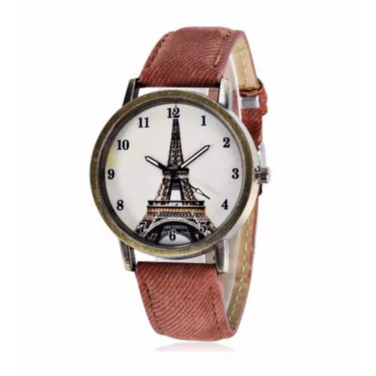Relógio Feminino Analógico Paris Torre Eiffel Social - Café