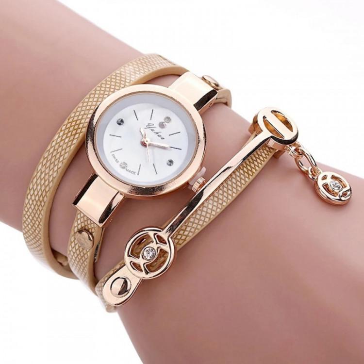 Relógios Feminino Pulseira Em Couro Retro Vintage dourado