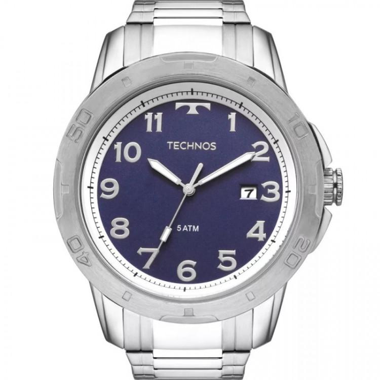 Relógio Technos Masculino Racer Prateado E Azul 2315aci/1a com frete grátis