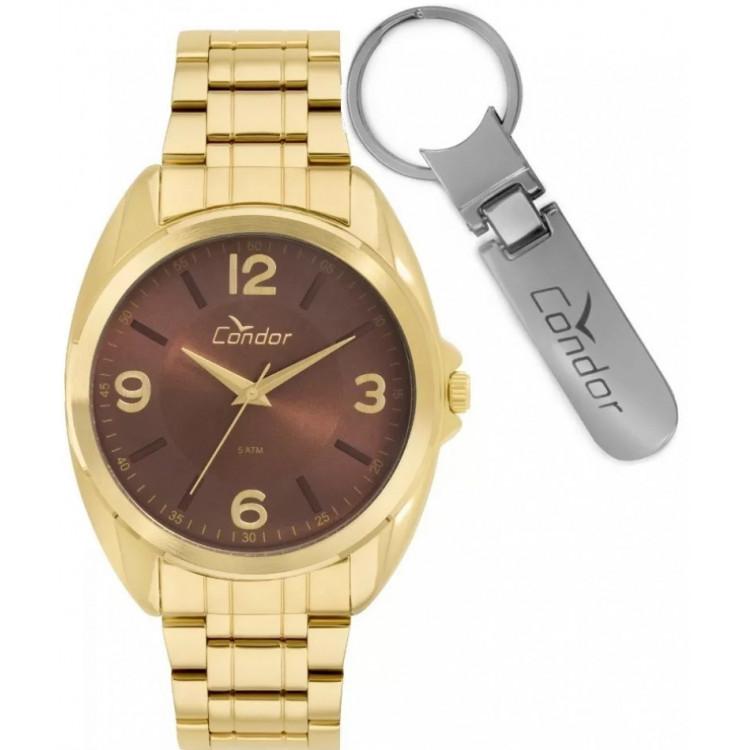 Relógio Condor Masculino Dourado + Chaveiro - Co2035kve/k4m- frete grátis e garantia