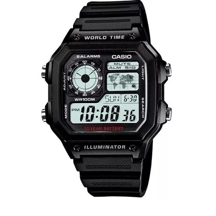 Relogio Casio Digital retrô Ae 1200w-1a/1b Borracha-mapa hora mundi Crono Alarm Wr100 frete grátis