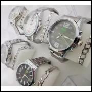 Kit C/ 05 Relógios Masculinos+ 05 Pulseiras Aço Inox Atacado frete grátis